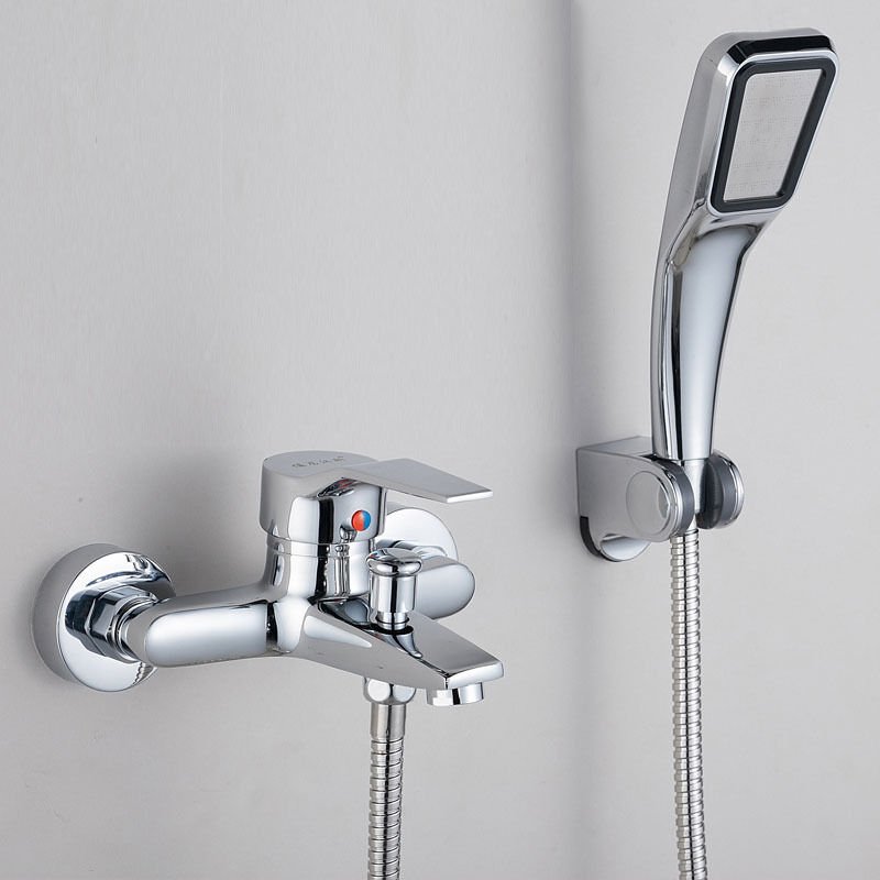 For bathroom brass hot cold water tap mixer faucet and shower head wall mounted ebay for Bathroom shower heads and faucets