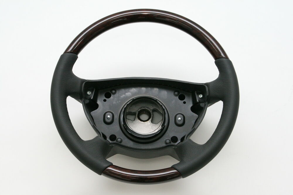 Walnut wood w leather steering wheel normal1 for mercedes for Mercedes benz steering wheel cover