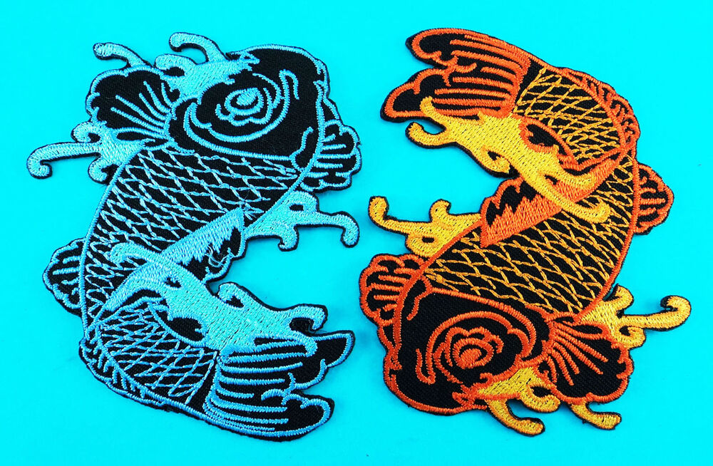 2 Lot Japanese Legend Koi Carp Lucky Fish Embroidered Iron