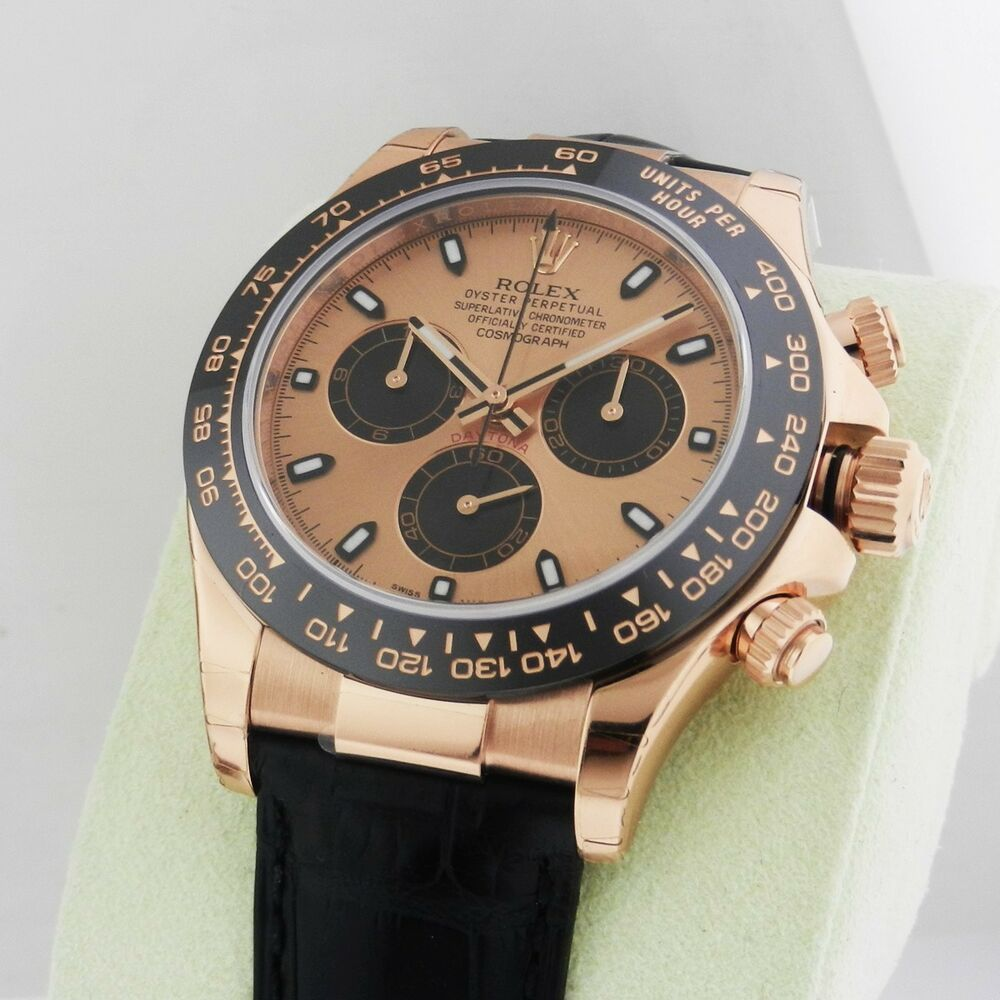 rolex cosmograph daytona rose gold 116515 pink dial everose retail 28 800 ebay. Black Bedroom Furniture Sets. Home Design Ideas