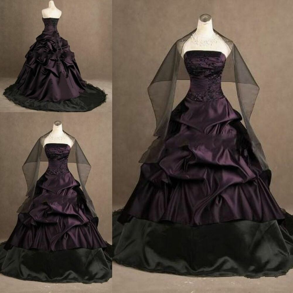 Black And Purple Gothic Wedding Dresses Custom Gothic Ball Gown Purple