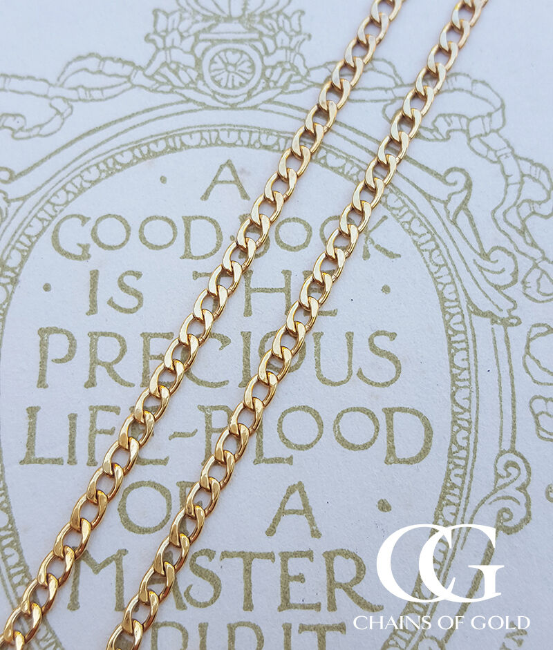 9ct Yellow Gold Unisex 2.2mm Curb Chain Necklace 18'', 20 ...