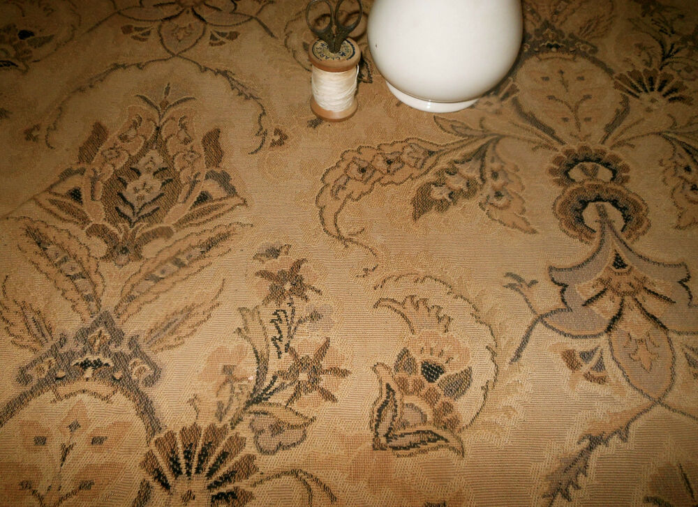 Antique French Indienne Floral Tapestry Fabric Black Gray