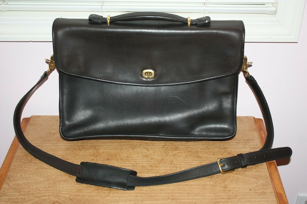 Rare Coach Black Leather Laptop Briefcase Messenger Bag Ebay