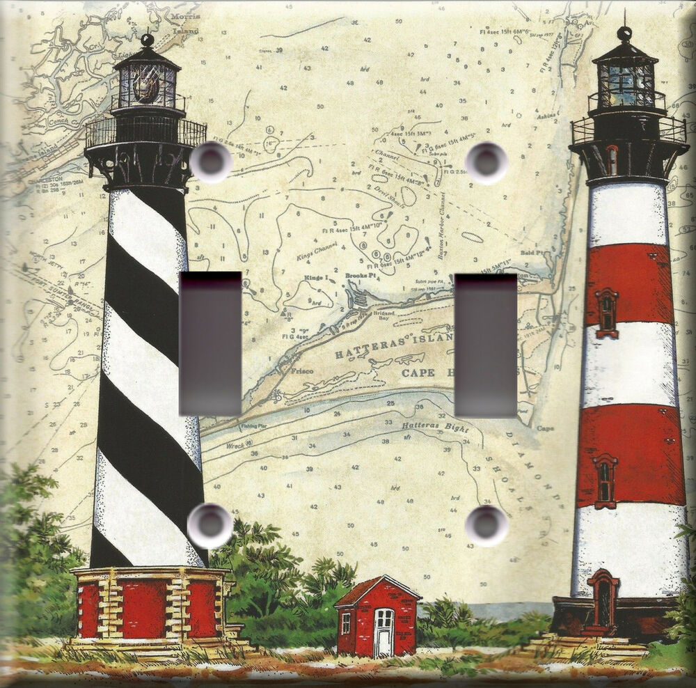 Light switch plate cover lighthouse sea shore map for Lighthouse switch plates