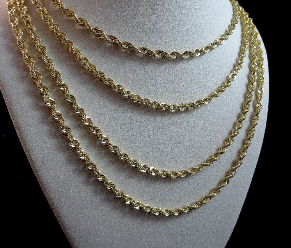 men 39 s women 39 s real10k yellow gold hollow rope chain. Black Bedroom Furniture Sets. Home Design Ideas