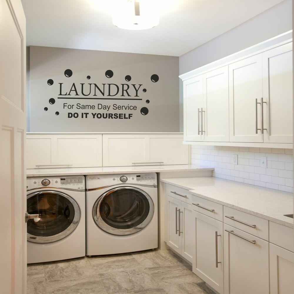 Laundry kitchen utillity room fun decal wall art diy for Laundry room wall art