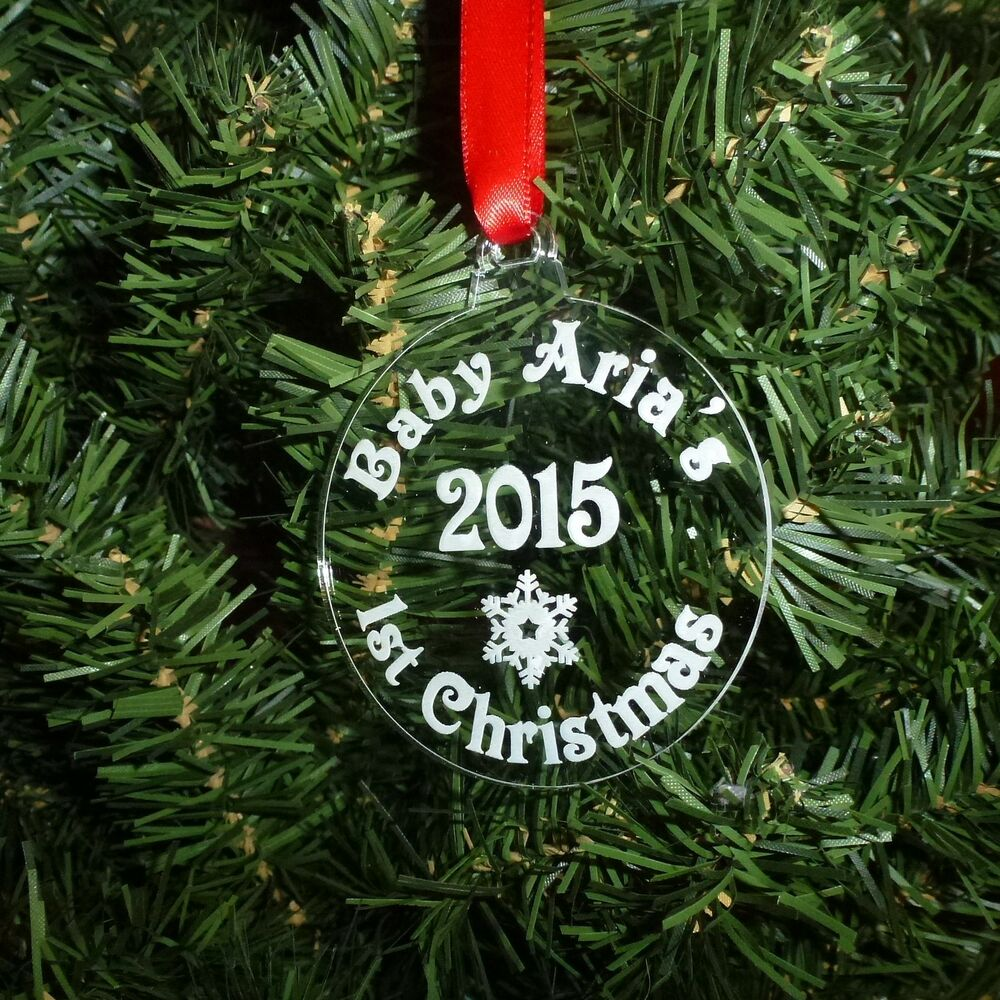 Bauble acrylic round personalised tree decoration babys for Baby s first christmas decoration
