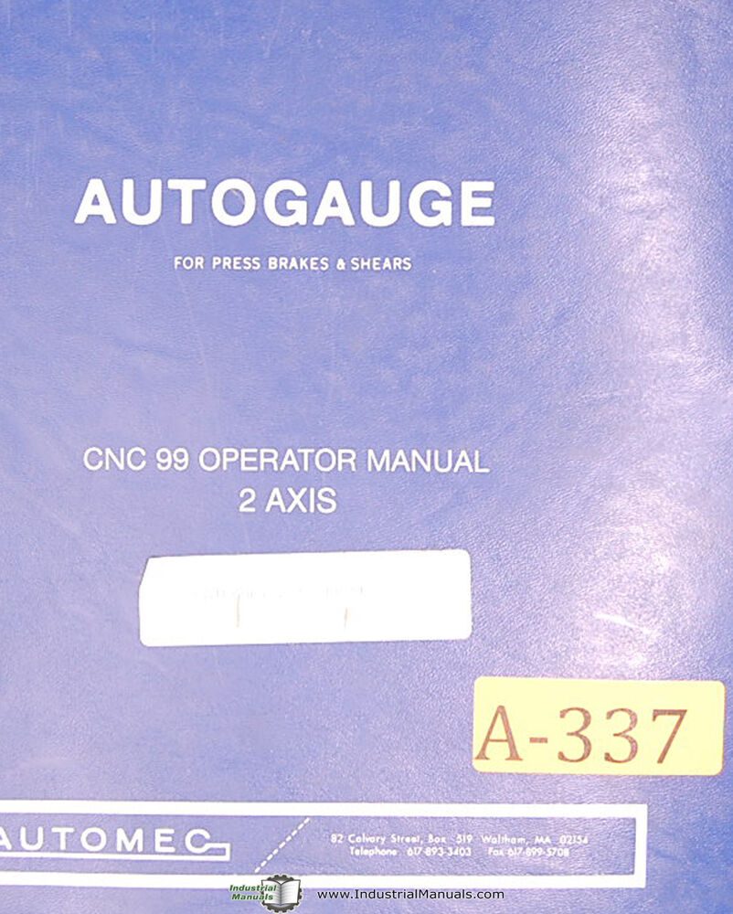Autogauge Automec CNC 99, Press Brake/Shears Operation & Programming Manual  1997 | eBay