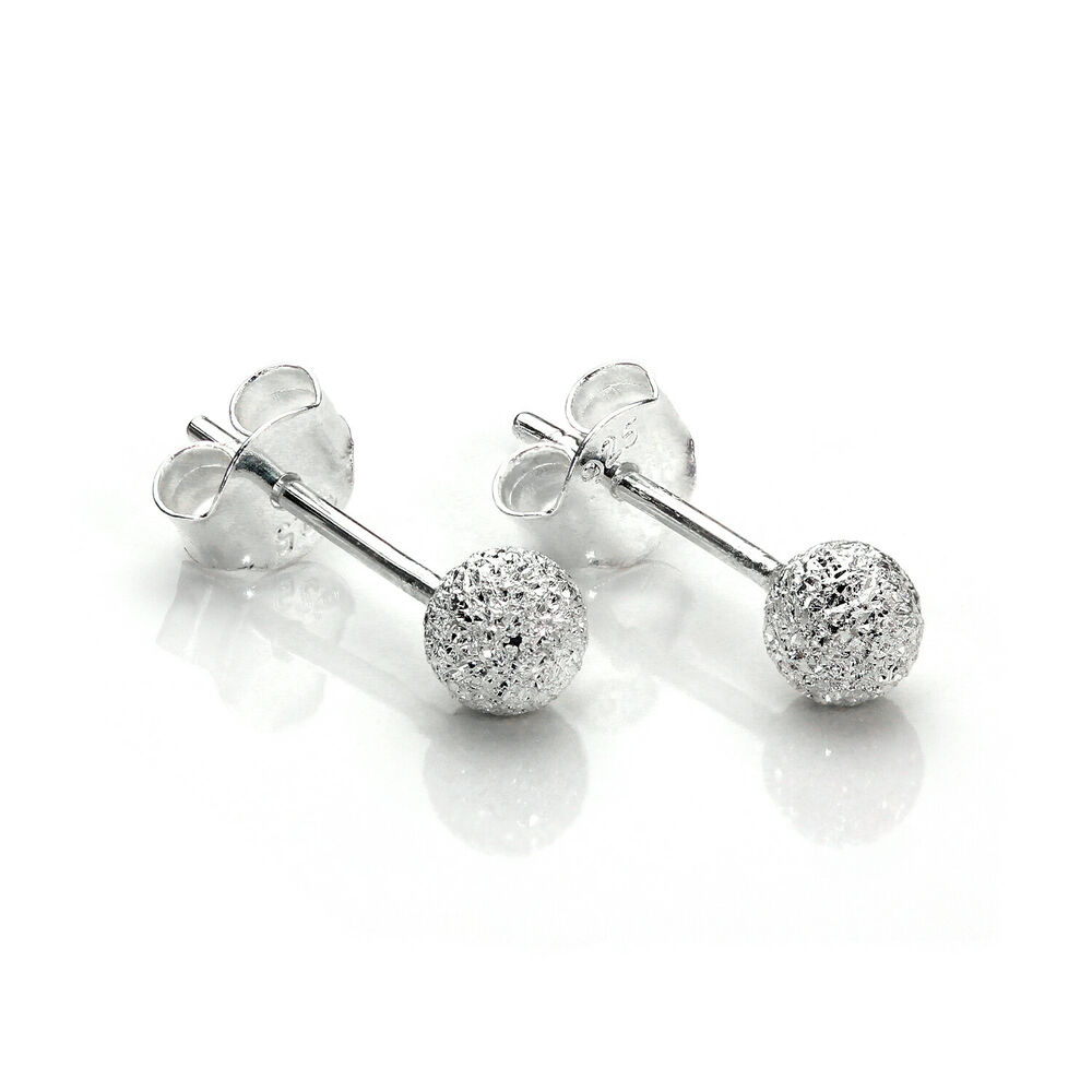 925 Sterling Silver 4mm Frosted Xmas Ball Stud Earrings