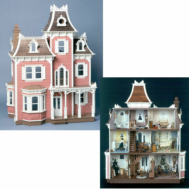 The beacon hill dollhouse kit victorian wooden wood doll for Victorian kit homes