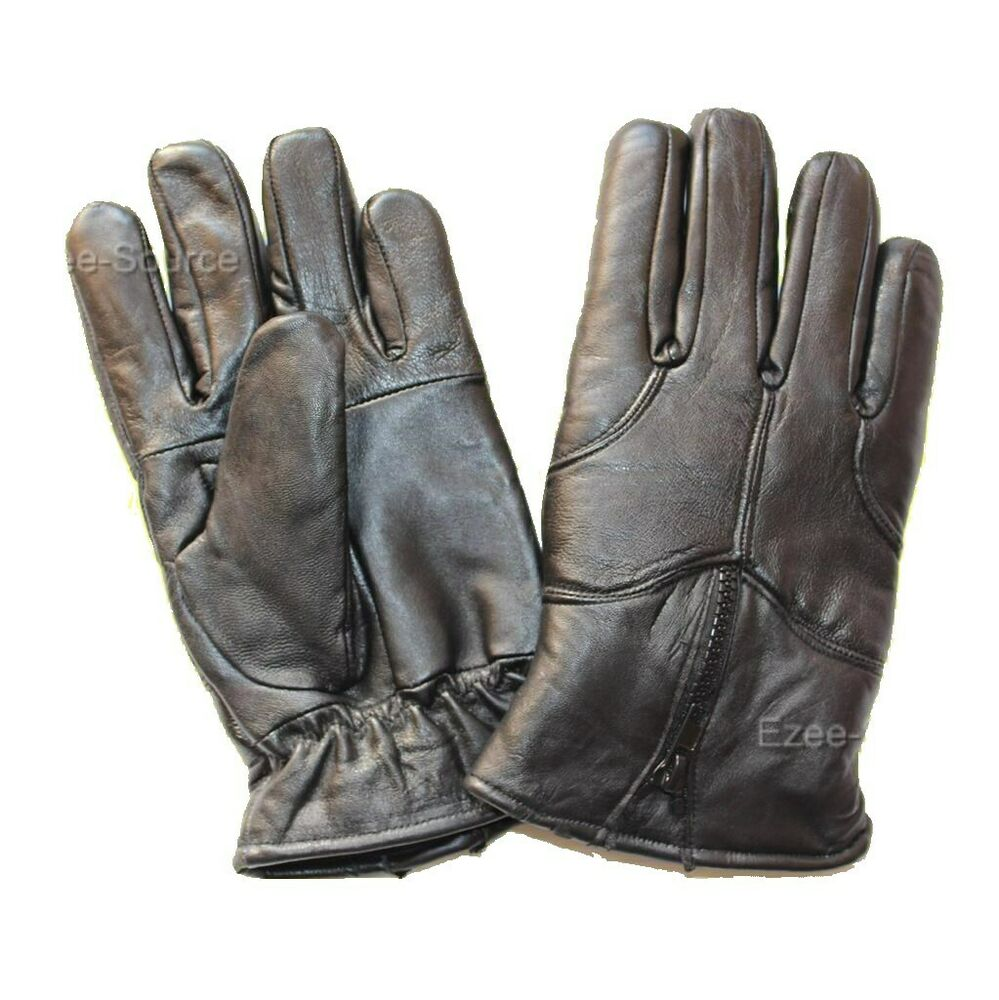 MENS BLACK REAL LEATHER WINTER WARM GLOVES DRIVING