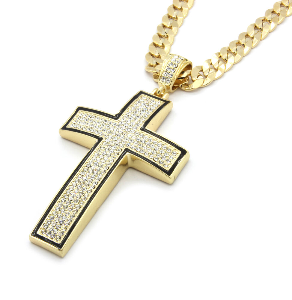 Mens gold black iced out cross pendant hip hop 30 inch for Black and blue jewelry cross necklace