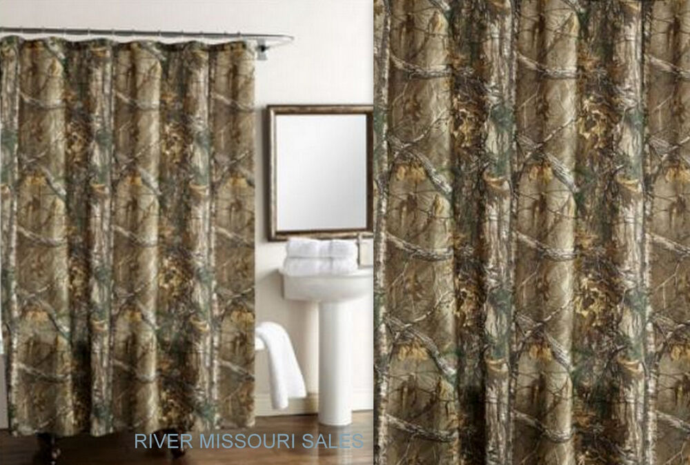 Realtree xtra green camo design shower curtain dimensions for Crest home designs curtains