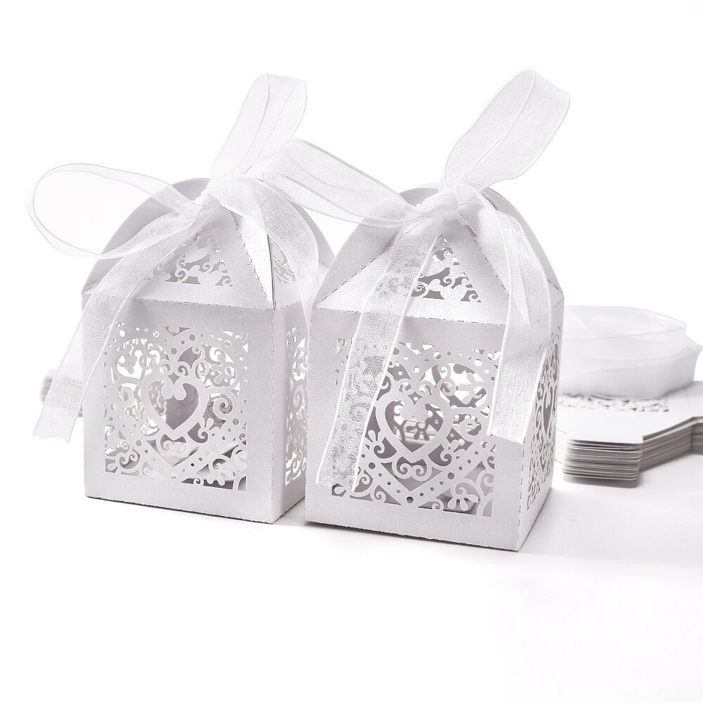Wedding Gift Box Ebay : ... Laser Cut Favor Box With Ribbon Wedding Party Gift Candy Box eBay
