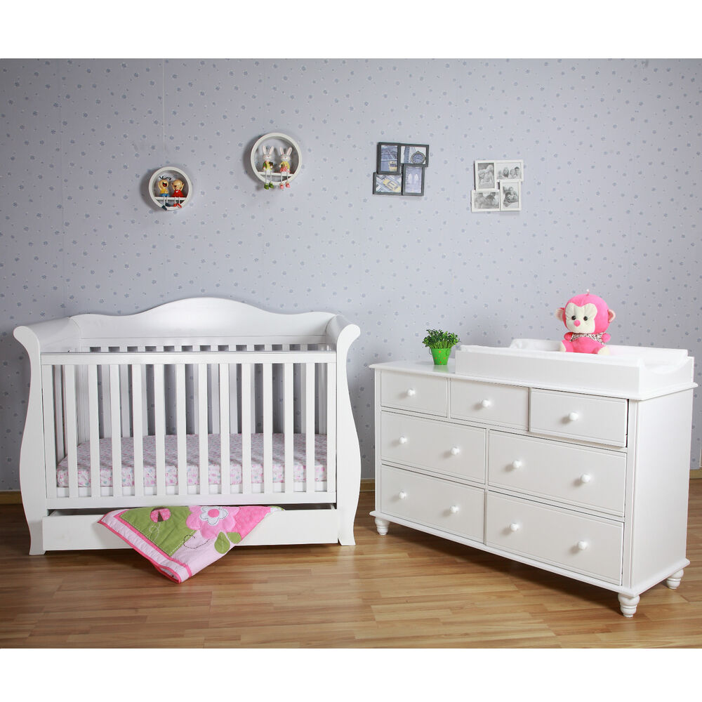White New Zealand Pine 3-in-1 Baby Sleigh Cot Bed & 7 ...