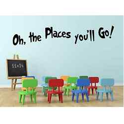 Oh the places you'll go Vinyl Decal Wall Black or White Traditional children