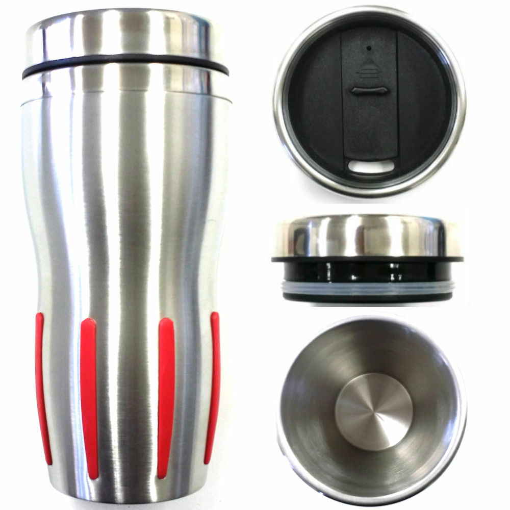 Silver Red Double Wall Stainless Steel Insulated Thermos
