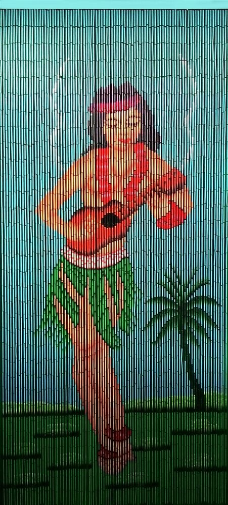 Bamboo Beaded Door Curtain Iconic Hula Girl Playing The