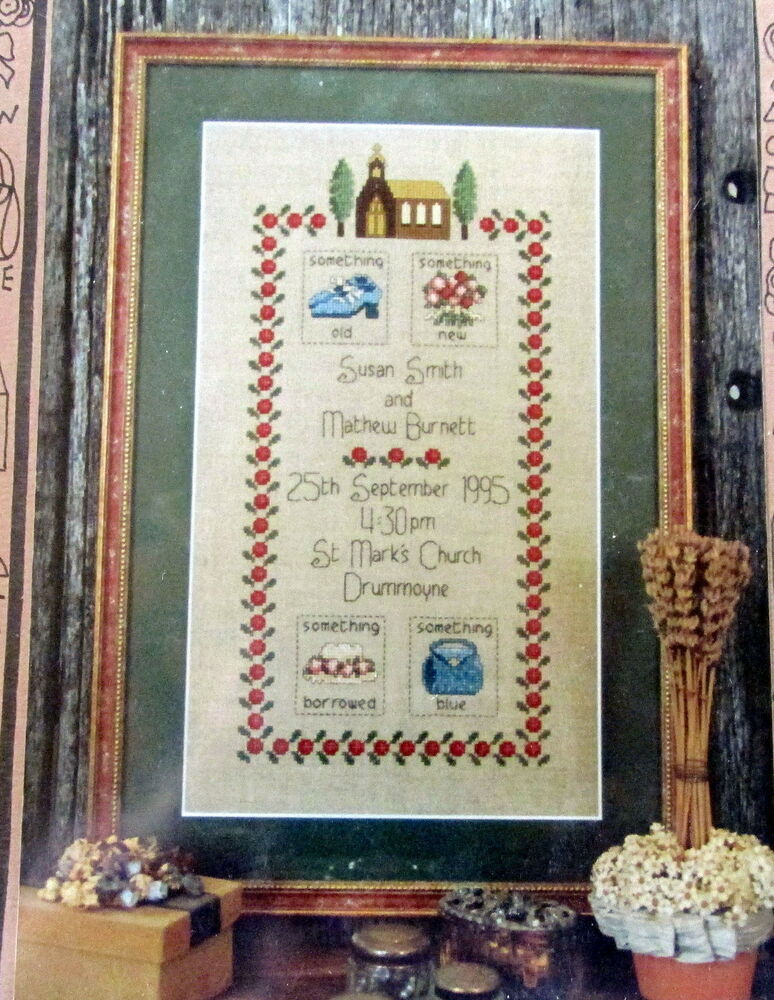 cross stitch pattern wedding day something borrowed blue old new