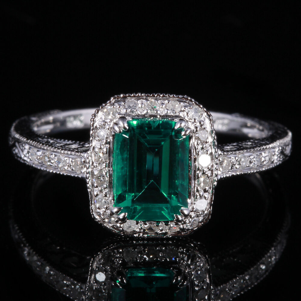 emerald with wedding engagement solid 10k