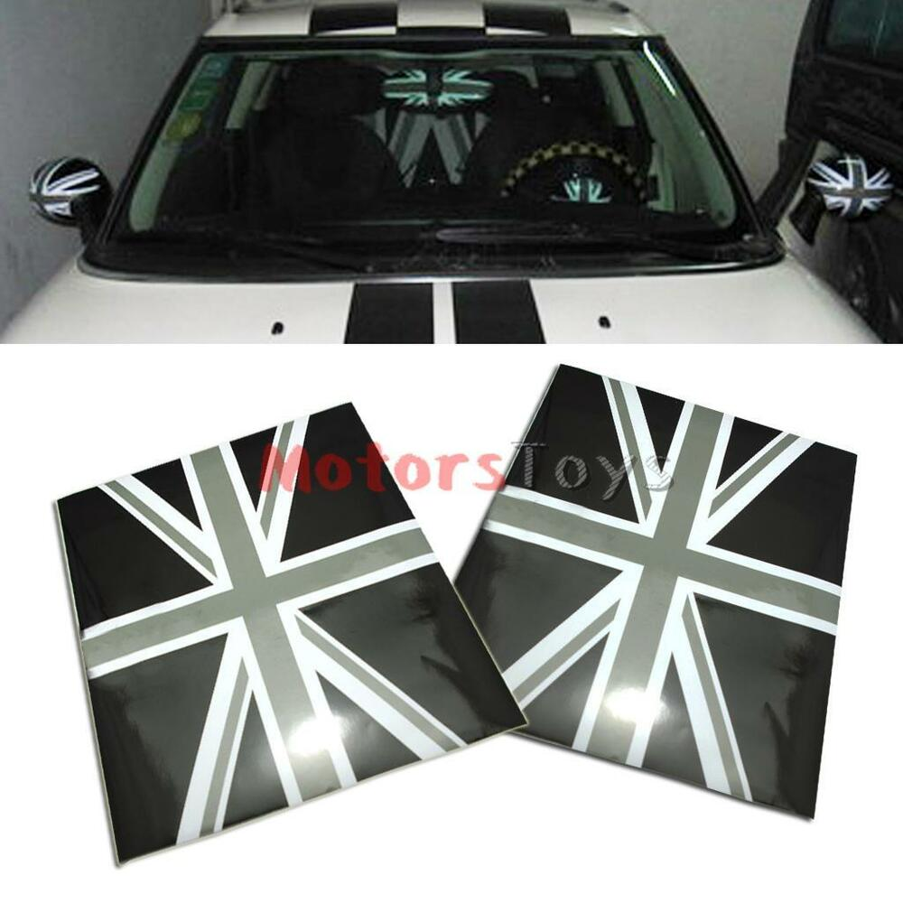 Black Union Jack Flag Vinyl Stickers For Mini Cooper Side ...