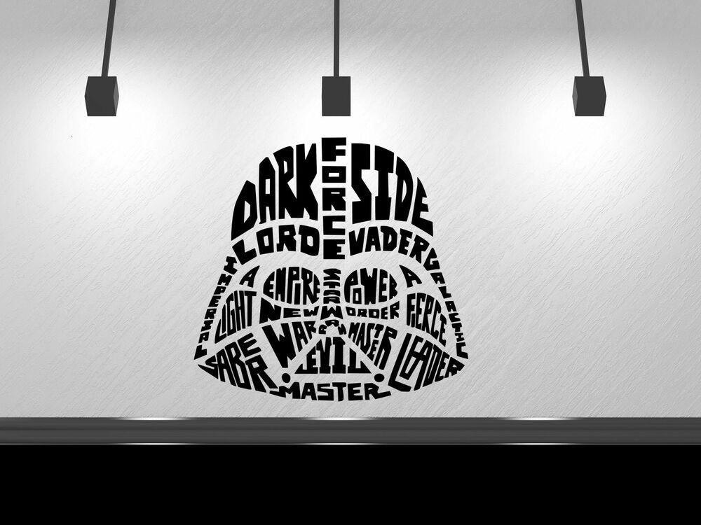 Darth Vader In Words Star Wars Decal Black Or White Wall