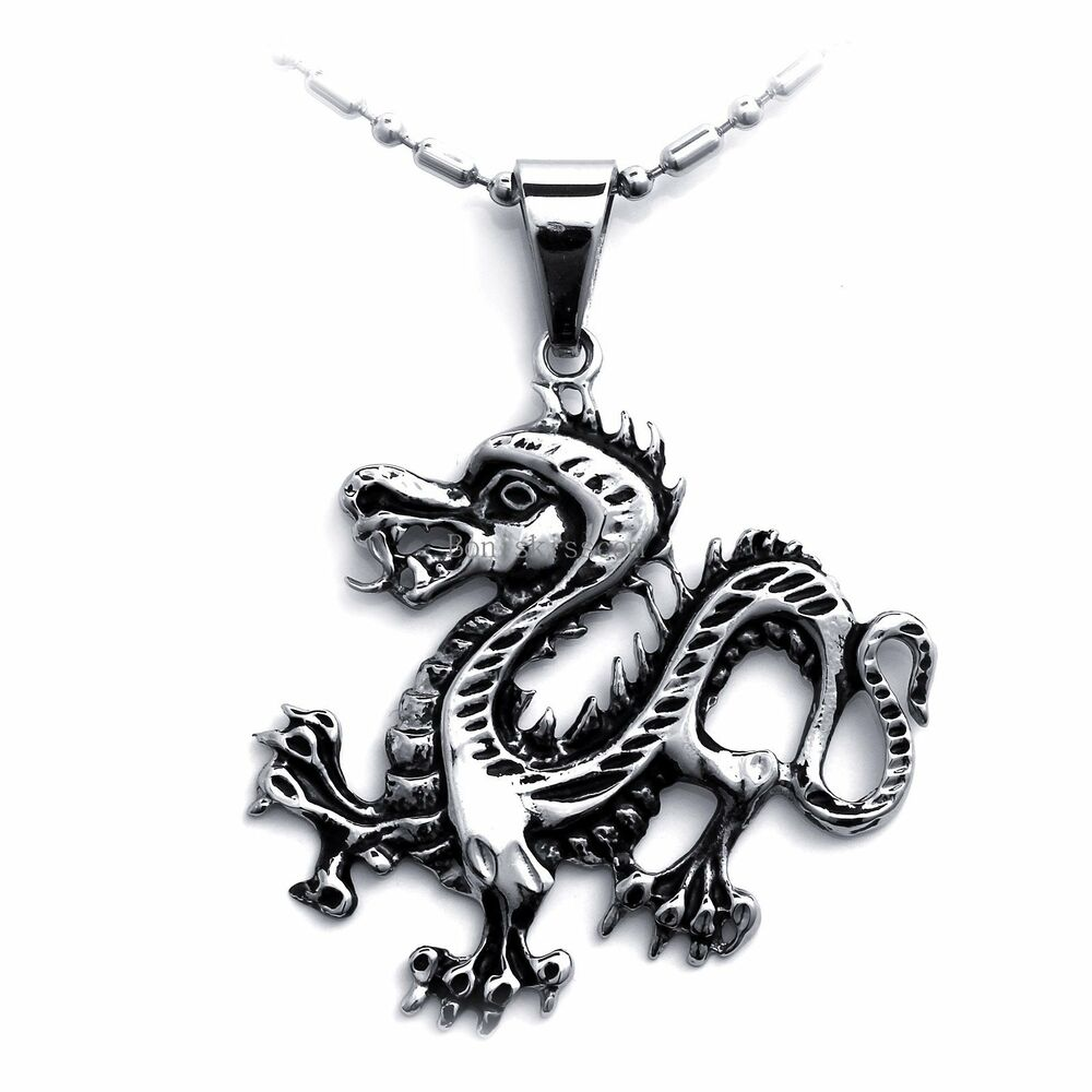 Tribal biker stainless steel dragon pendant necklace for for Dragon gifts for men