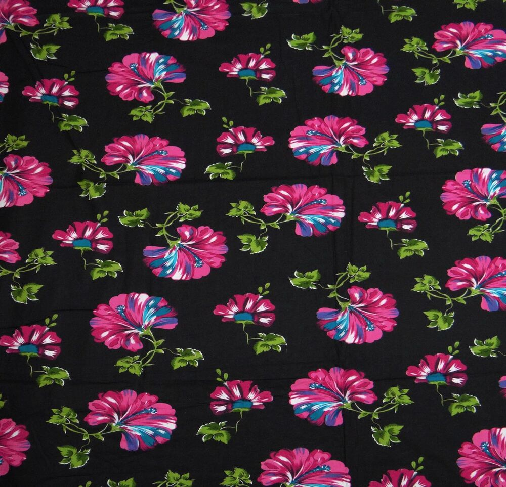 Floral printed cotton black fabric dressmaking sewing for Dressmaking fabric