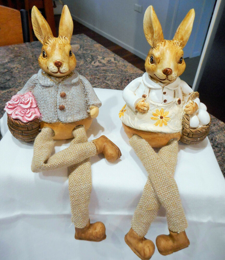 SET OF 2 VERY CUTE EASTER RABBIT SHELF SITTERS