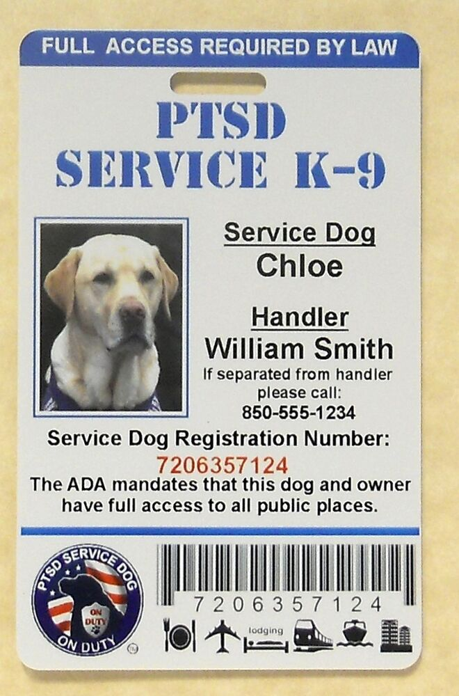 Ptsd Service Dog Id Card Assistance Animal Id Badge Ada K 9 Tag 1