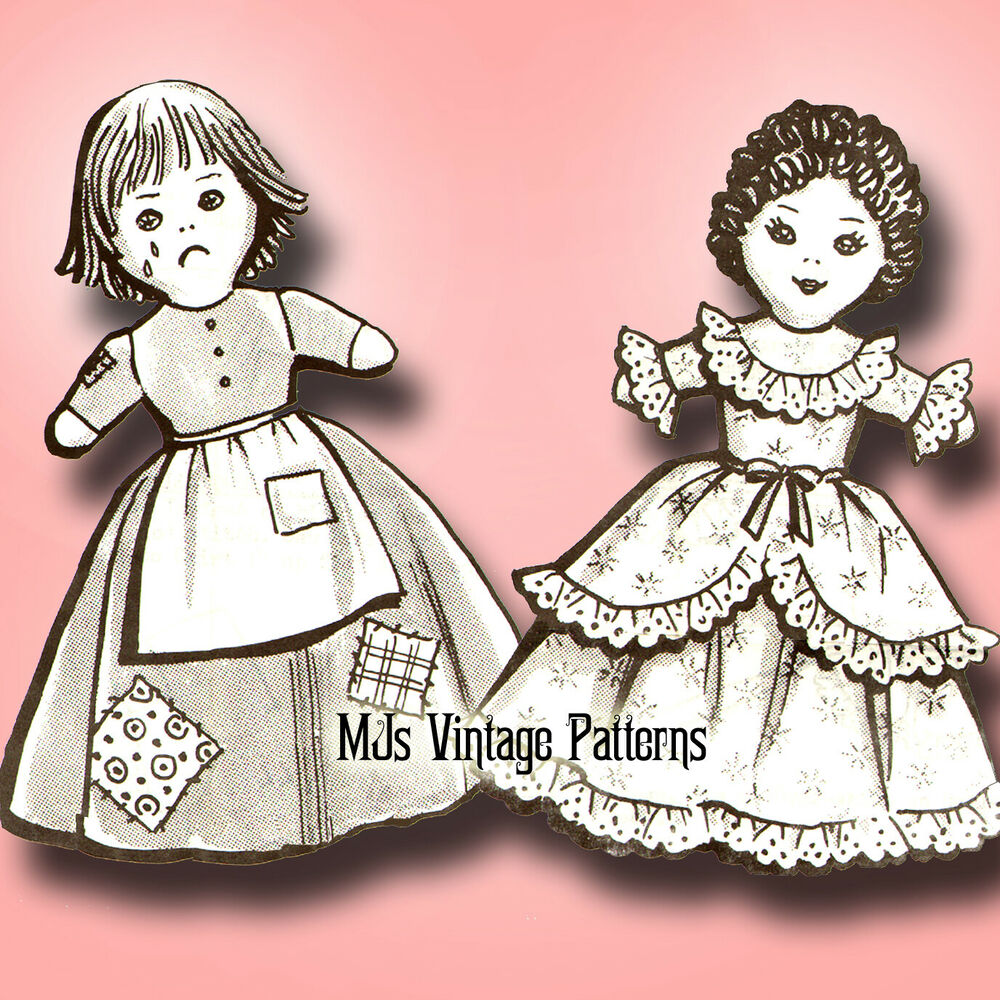 Knitting Pattern For Upside Down Doll : Vintage Upside Down Topsy Turvy Doll Pattern ~ Cinderella Rags and Ball Gown ...