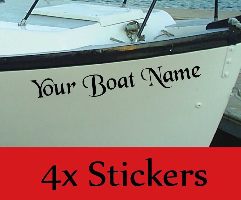 Personalised Boat Name Decals Stickers Graphics X4 Ebay