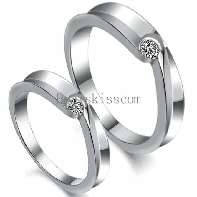 his hers matching silver tone cz promise ring