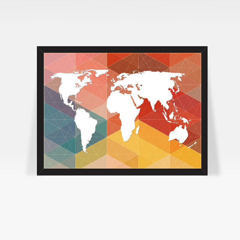 World map retro geometric print colorful modern home for Modern home decor llc