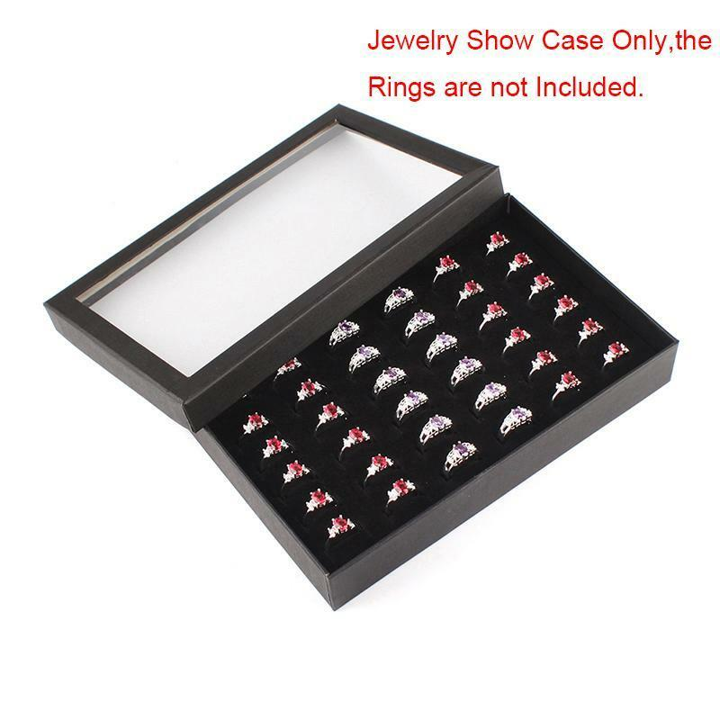 Amazing 36 slot ring box storage ear display jewelry for Ring case