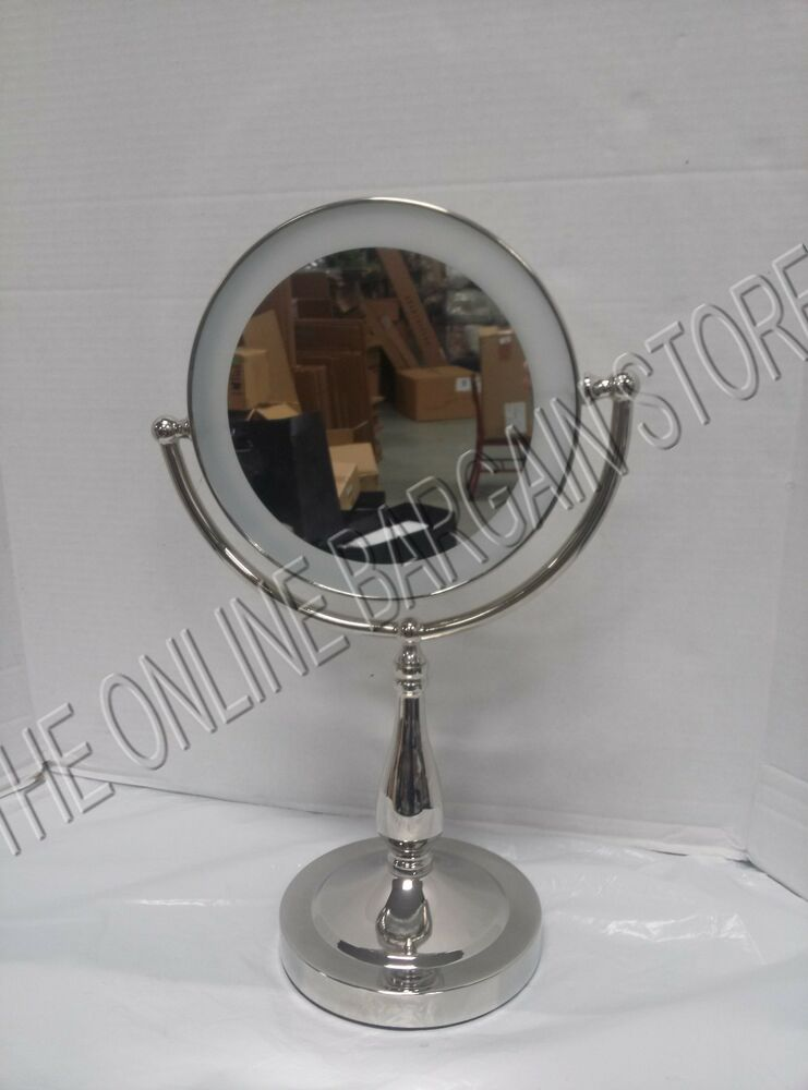frontgate led touch light vanity bath makeup cosmetic magnify mirror pol nickel ebay. Black Bedroom Furniture Sets. Home Design Ideas
