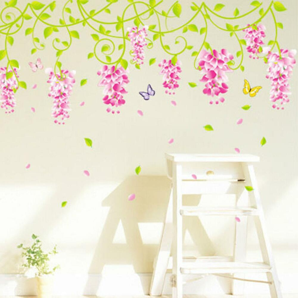 Romantic Wedding Bedroom Decor Decal Wisteria Flower Reuse Lively Wall