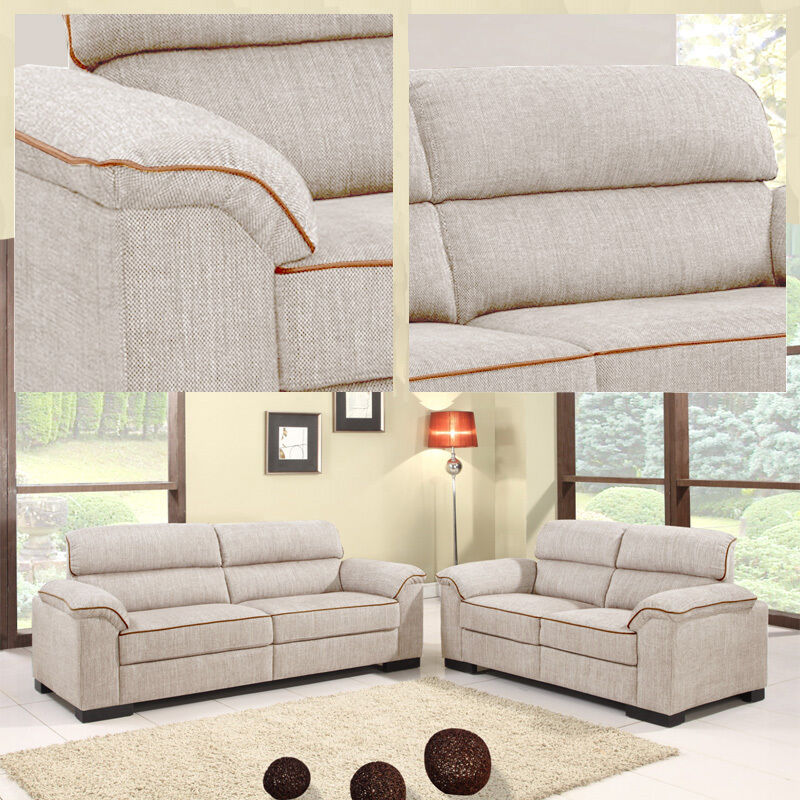 Ealing 3 2 Seater Light Brown Cream Beige Fabric Sofas