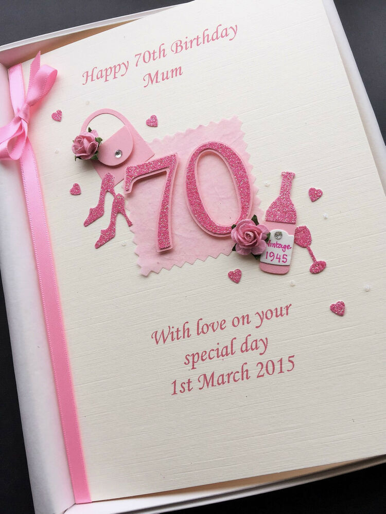 Details About 70th BIRTHDAY CARD FOR WOMEN Personalised Handmade Gift Boxed Custom Designs