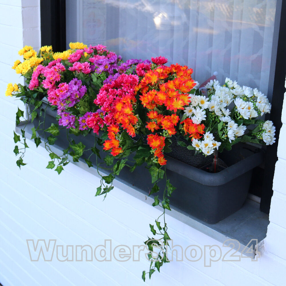 balkonblumen dendranthema balkon blumen seidenblumen kunstblumen chrysanthemum ebay. Black Bedroom Furniture Sets. Home Design Ideas