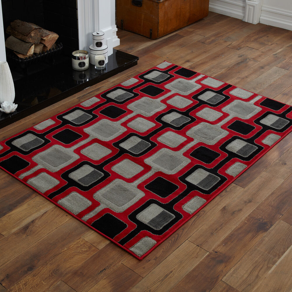 Modern small medium large red black chain pattern cheap for Cheap good quality rugs
