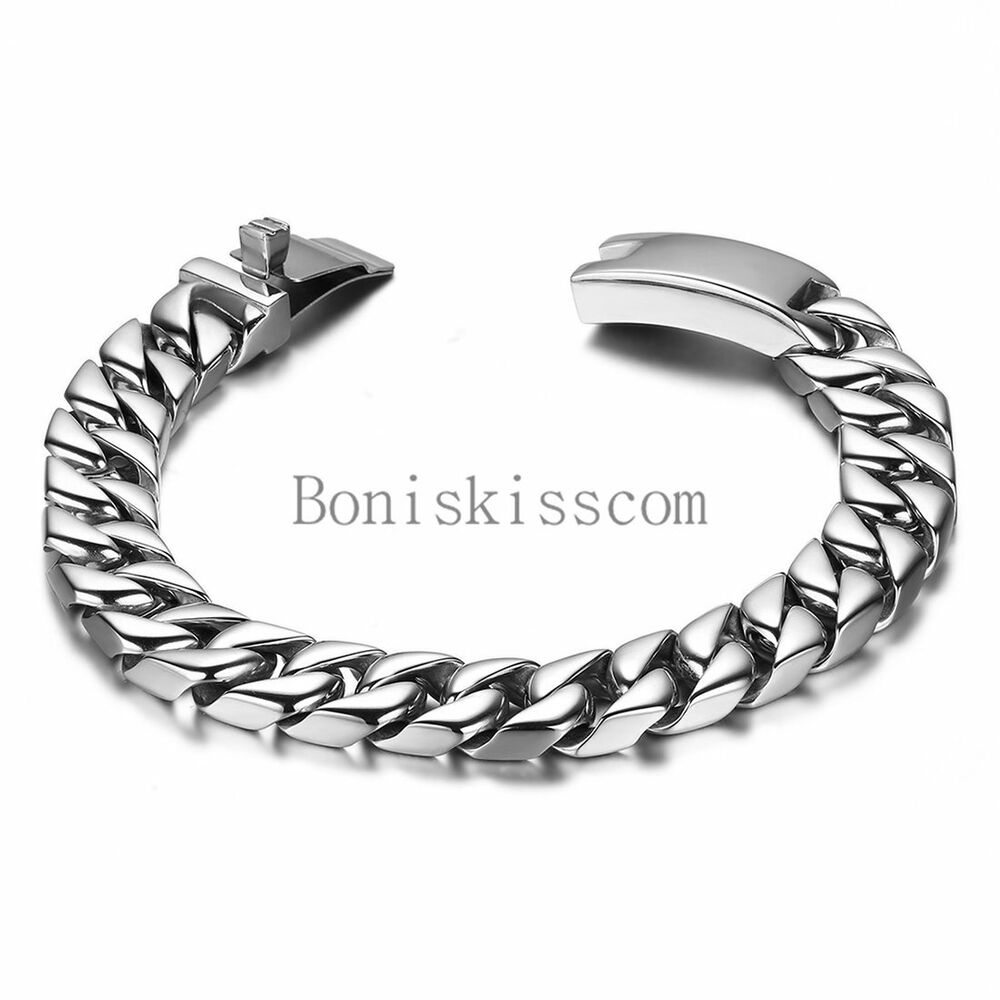 Durable Stainless Steel Men's Flat Biker Chain Heavy Bracelet Silver 8 Inch | eBay