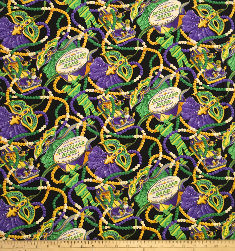 mardi gras fabric dixieland by blank quilting cotton by the yard parade 16556 ebay. Black Bedroom Furniture Sets. Home Design Ideas