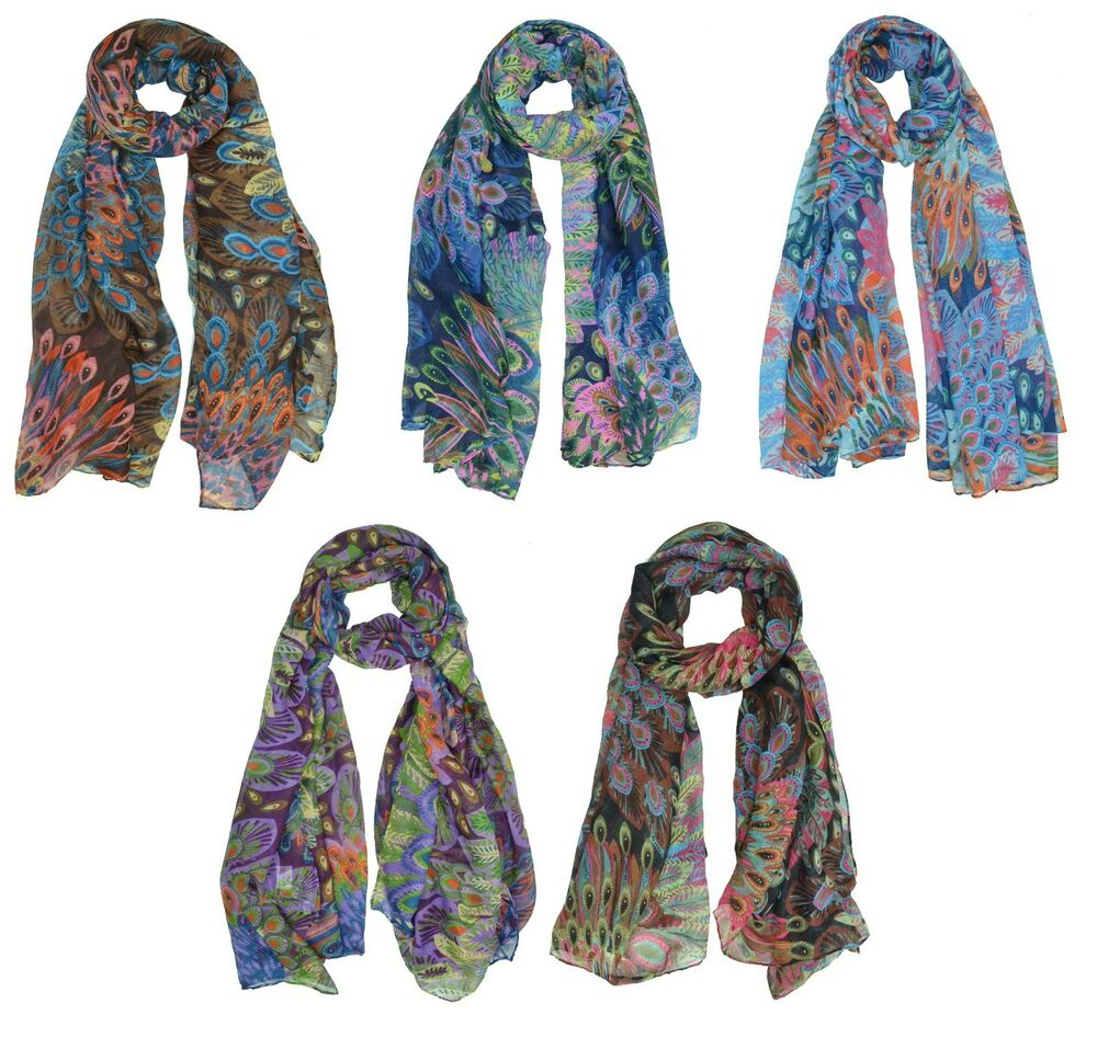 peacock feather print pattern large oblong scarf scarves