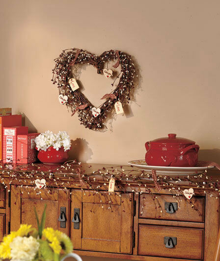 Valentine Home Decorations: Country Hearts Wreath Garland Berries Grapevines Branches