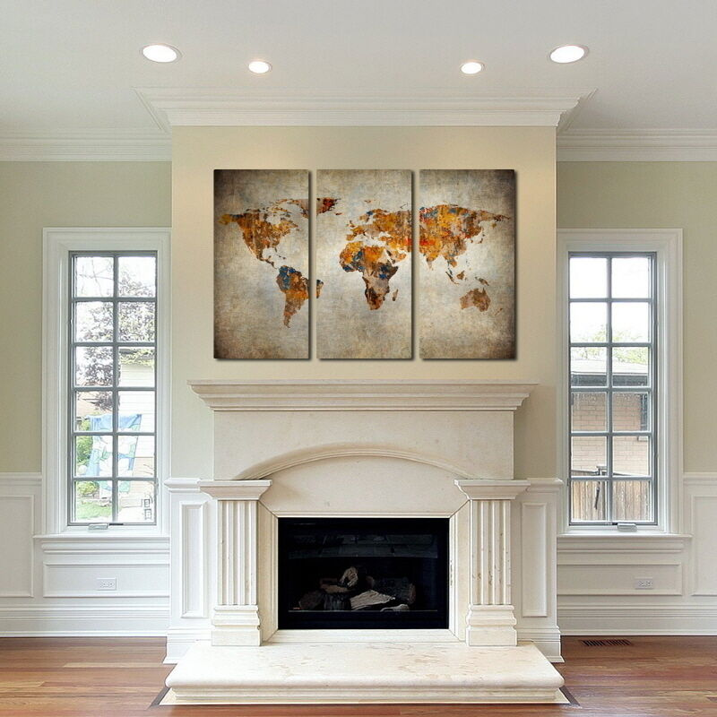 Rustic World Map Canvas Art Set Of Giclee Print Triptych Wall - World map canvas