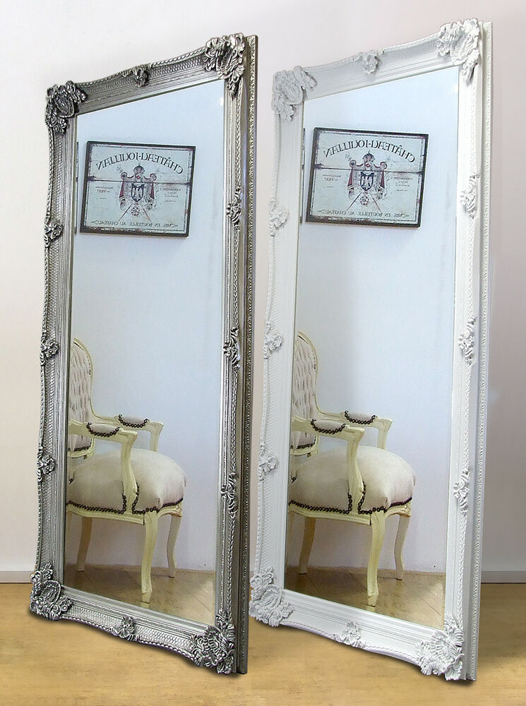 abbey ornate large full length leaner mirror white or silver 65 x 31 ebay. Black Bedroom Furniture Sets. Home Design Ideas