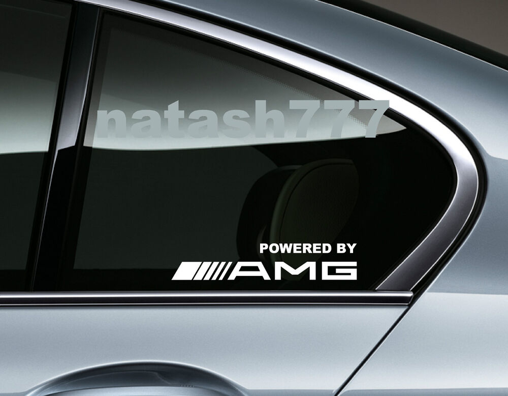 Powered by amg mercedes benz sport racing window decal for Mercedes benz decal