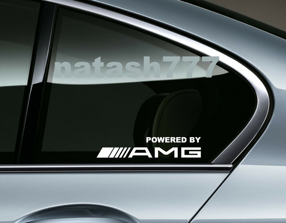 Powered by amg mercedes benz sport racing window decal for Mercedes benz window sticker